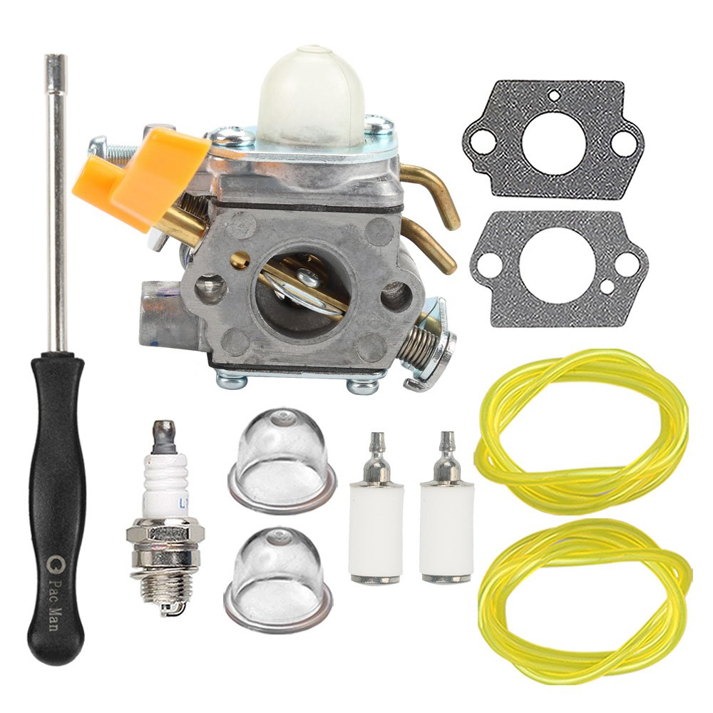 HIPA 308054043 Carburetor + Carb Tool Tune Up Kit for Homelite Ryobi RY09800 RY28021 RY28041 RY28065 UT32601 UT32601A UT32605 UT32651 UT32651A UT32655 26cc Strting Trimmer Brushcutter