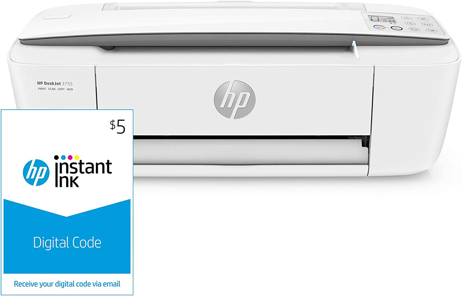 HP DeskJet 3755 Compact All-in-One Wireless Printer, HP Instant Ink & Amazon Dash Replenishment ready - Stone Accent (J9V91A) and Instant Ink $5 Prepaid Code