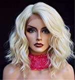 ATZWIG New Fashion Lace Front Wig Women Short Platinum Blonde Wavy Lace Synthetic Hair Wigs