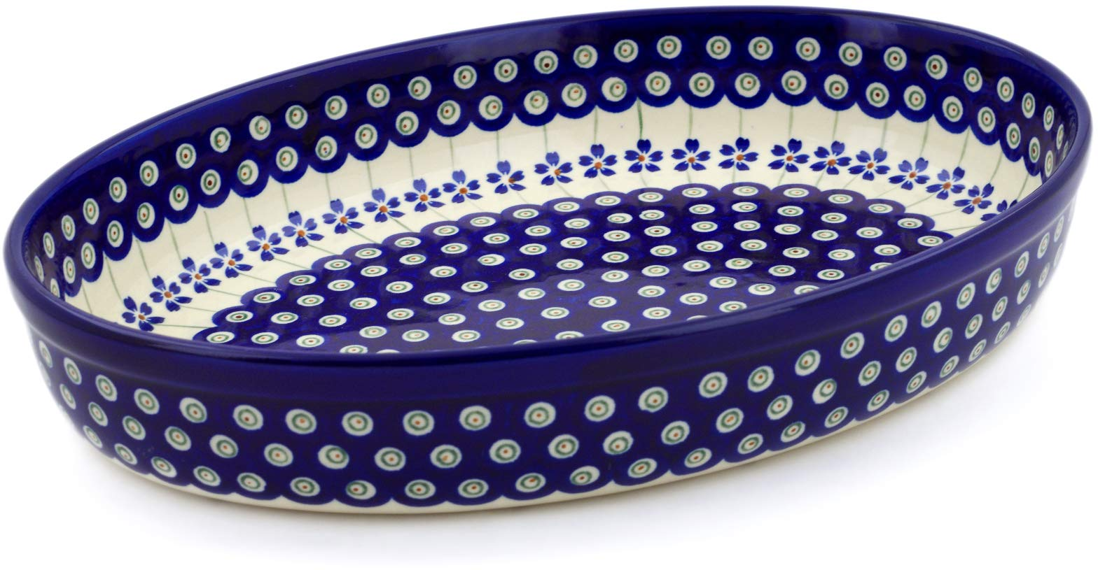 Polish Pottery 12½-inch Oval Baker (Flowering Peacock Theme) + Certificate of Authenticity