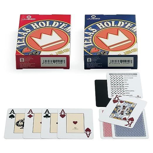 56 opinioni per Juego JU90032 Carte Texas Hold'em Poker, Carte da gioco, [Colori assortiti, blu