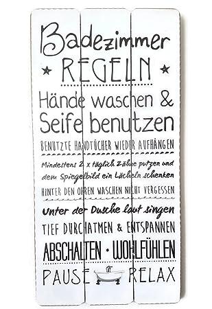 Badezimmer Regeln | Bada Bing Plankenschild Badezimmer Regeln Ca 60 X 30 Cm Deko