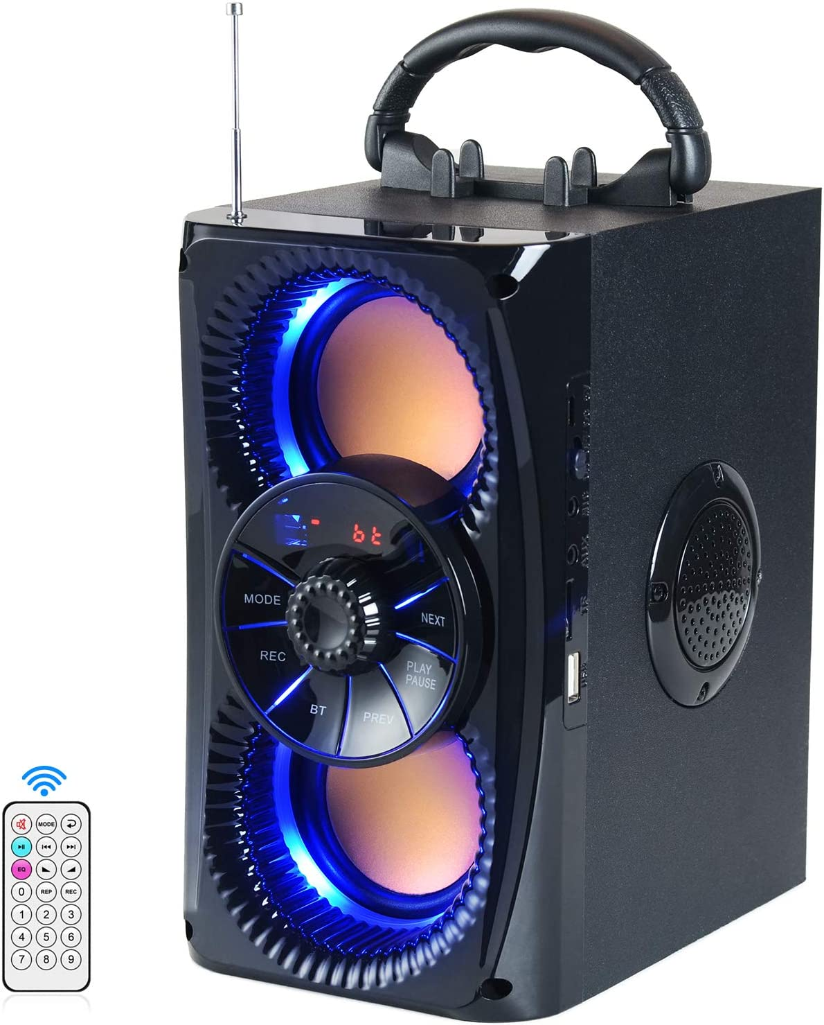 Bluetooth Speakers, Portable Wireless Speaker with Lights, Double Subwoofer Heavy Bass, FM Radio, SD Player, Remote, Suitable for Travel, Indoors and Outdoors, 4 Loud Speakers