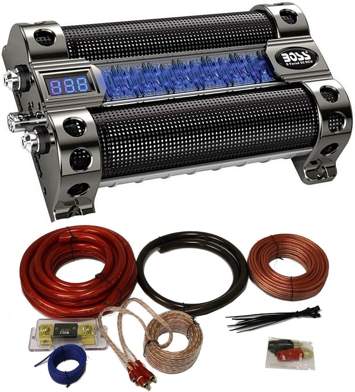 Amazon.com: Boss CAP8 8 Farad LED Digital Car Power Capacitor Cap + 0 Gauge  Wiring KitAmazon.com