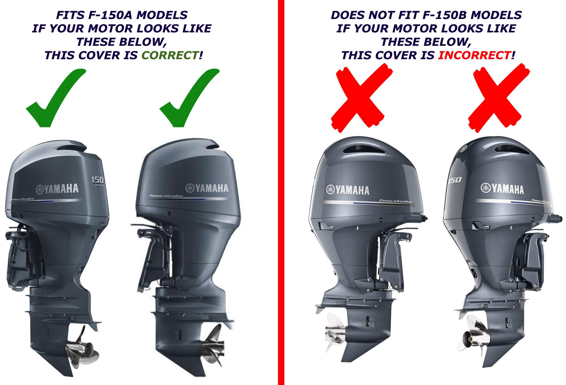 Yamaha OEM A-Model F150 Outboard Motor Cover (2013 and older) MAR-MTRCV-1C-15 by Yamaha