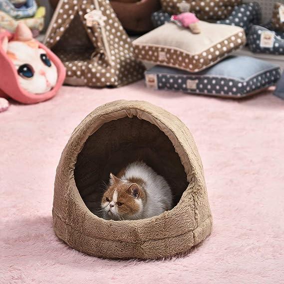 PAWZ Road Cama para Perros, caseta para Gatos, Cueva Plegable, Cachorros Iglu con cojín extraíble Washabble para pequeñas Mascotas Medianas 3 x 39 x 37 cm: ...