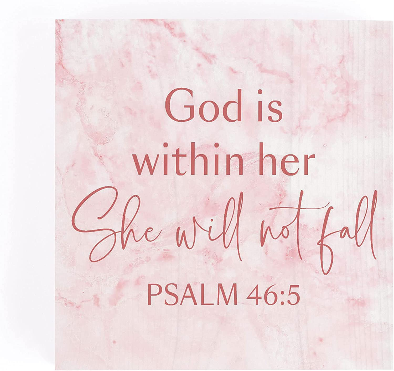 P. Graham Dunn She Will Not Fall Marbled Pink 3.38 x 3.38 Pine Wood Word Block Plaque