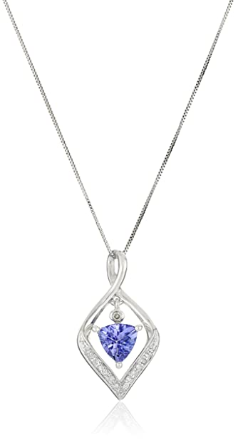 Amazon 14k white gold tanzanite and diamond pendant necklace 14k white gold tanzanite and diamond pendant necklace 18quot mozeypictures Choice Image
