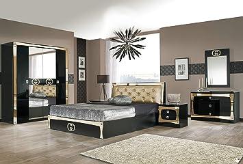 LIGNEMEUBLE GOCCIA LAQUÉ Noir ET DORÉ Chambre À Coucher Design : L ...