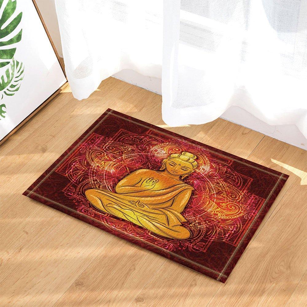 HiSoho Mandala Decors Buddha sitting in the Lotus Position for Spa Bath Rugs Non-Slip Doormat Floor Entryways Indoor Front Door Mat Kids Bath Mat 15.7x23.6in Bathroom Accessories