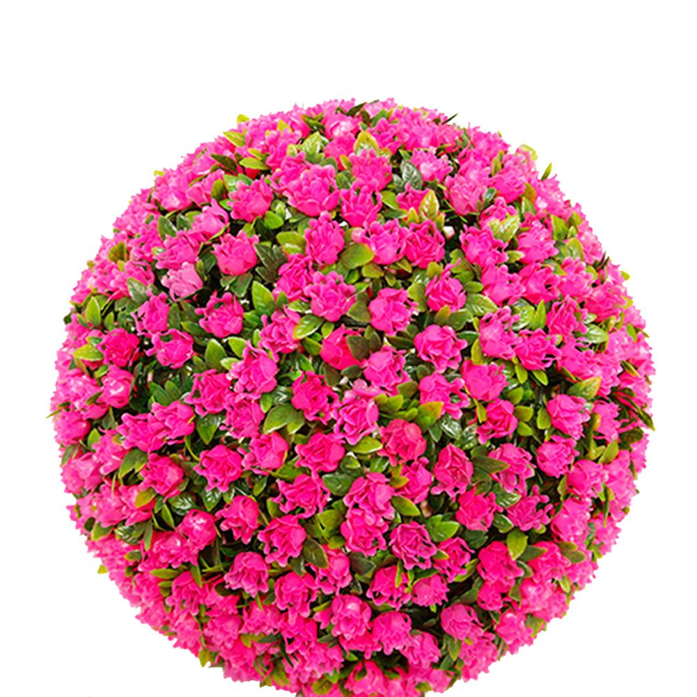 Maiaro Boule De Gazon Artificiel Rose Rouge Topiaire Bille Effet Bille Accrocher,30Cm