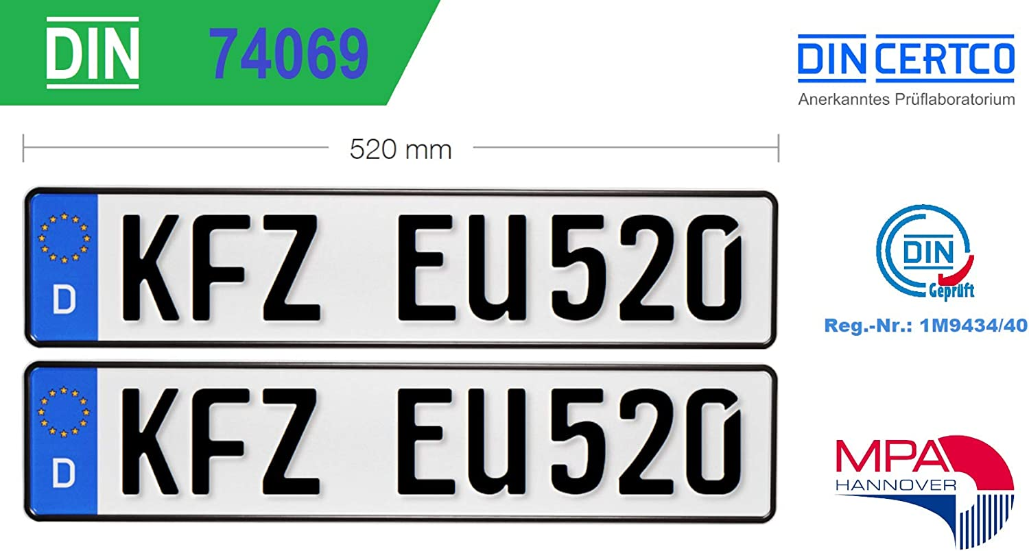 Pack Of 2 Standard Car Eu Number Plate 520 X 110 X 1 Mm Car Signs In Accordance With Din Norm 74069 Auto