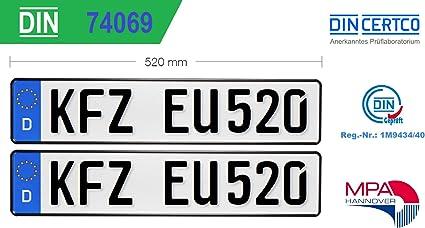 2x Kfz Kennzeichen Standard Größe Eu520x110x1mm Autokennzeichen Wunschkennzeichen Saisonkennzeichen Nummernschild Pkw Kennzeichen Fahrradträger Anhänger Elektro Auto Oldtimer Auto