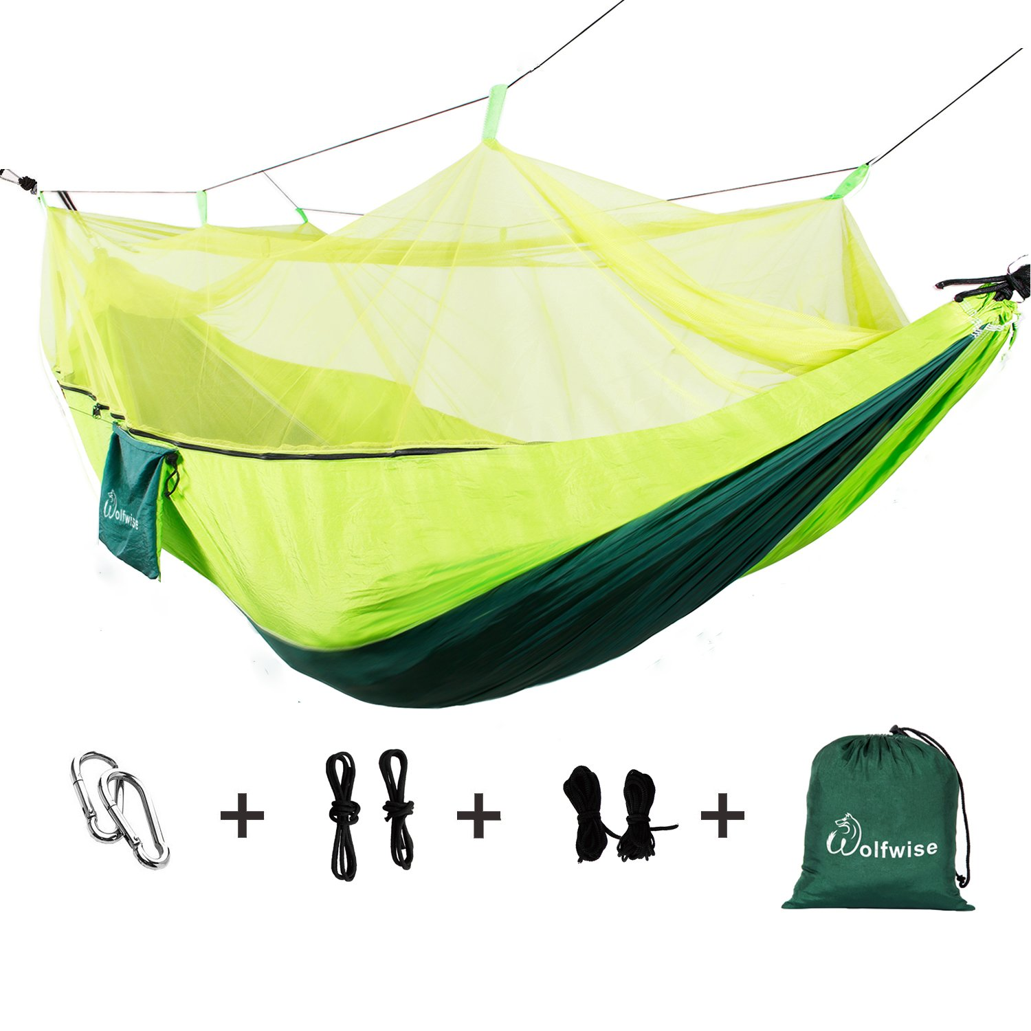 wolfwise超軽量ポータブルプロフェッショナル通気性2-personキャンプHammocks Supports up 400lbs B01K4J35GC  mosquitoes Net Green
