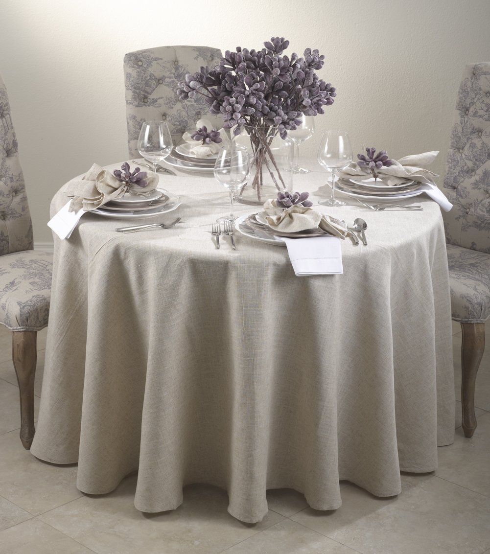 Amazon.com: Toscana Classic Natural Round Tablecloth. One Piece. (90 Inch  Round): Home U0026 Kitchen