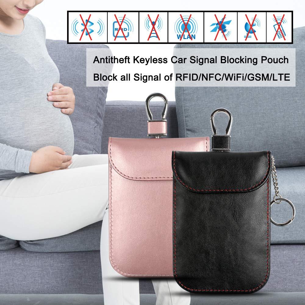 Arae Car Key Signal Blocker Pouch Black/&Rose Gold RFID Blocking Faraday Bag for Keyless Entry Car Key Fob Anti-Thief Car Key Signal Case with Keychain for Credit Card Leather Protector Bags