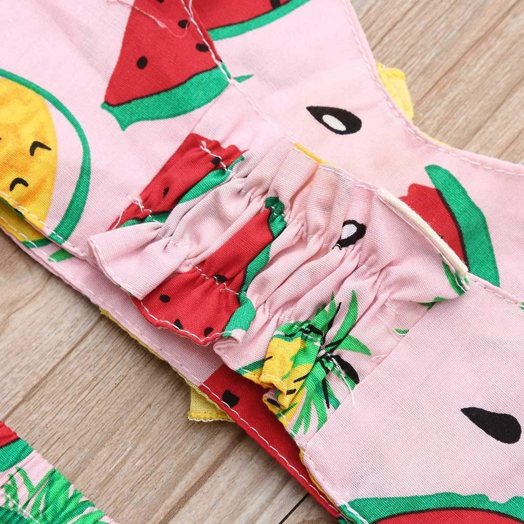 FCHICH Kids Girls Halter Neck Two Piece Beach Swimsuit Baby Watermelon Print Bikini Set Fruit Bandage Swimwear