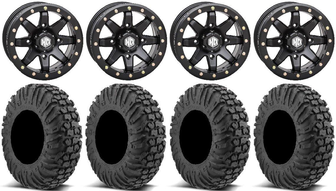 Bundle - 9 Items: STI HD9 14' Beadlock Wheels MB 30' MotoVator Tires [4x156 Bolt Pattern 12mmx1.5 Lug Kit] Multiple