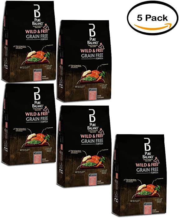 Pure Balance Pack of 5 Grain Free Salmon & Pea Recipe Food for Dogs 4lbs