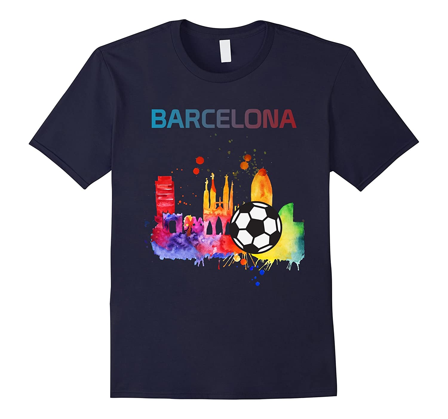 Barcelona Spain t shirt soccer ball for men women boys girls-PL