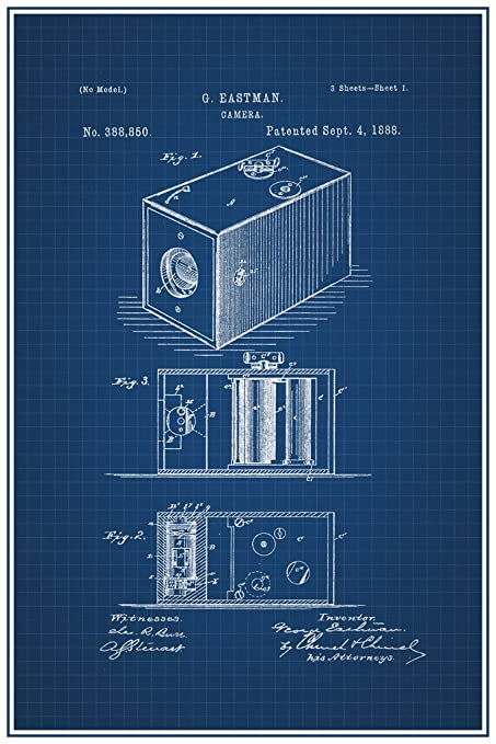 Amazon first film camera george eastman 1888 official patent first film camera george eastman 1888 official patent blueprint poster 12x18 inch malvernweather Image collections