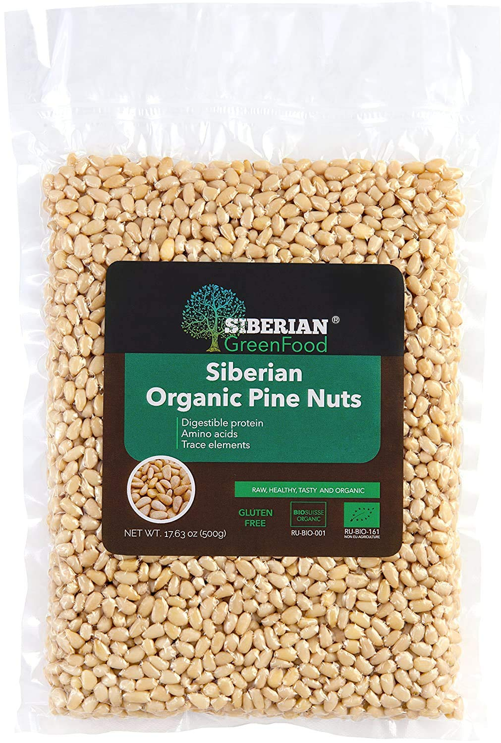 Organic Siberian Pine Nuts, Premium Quality, Vacuum Packed by Siberian Green Food 500gr/17.63oz, European Organic Certificate.