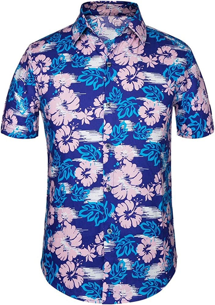 Hawaiian Shirt with Classic Polo Collar Pure Cotton Summer Casual for Men
