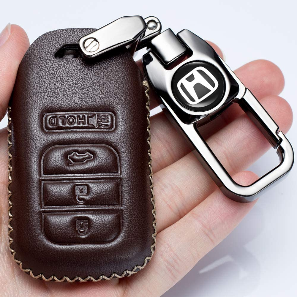 Hey Kaulor Leather Cover Key Fob Case Protector Jacket Remote Holder Suit for 2015 2016 2017 2018 2019 Honda Accord Civic CR-V CRV Pilot EX EX-L Touring Premium