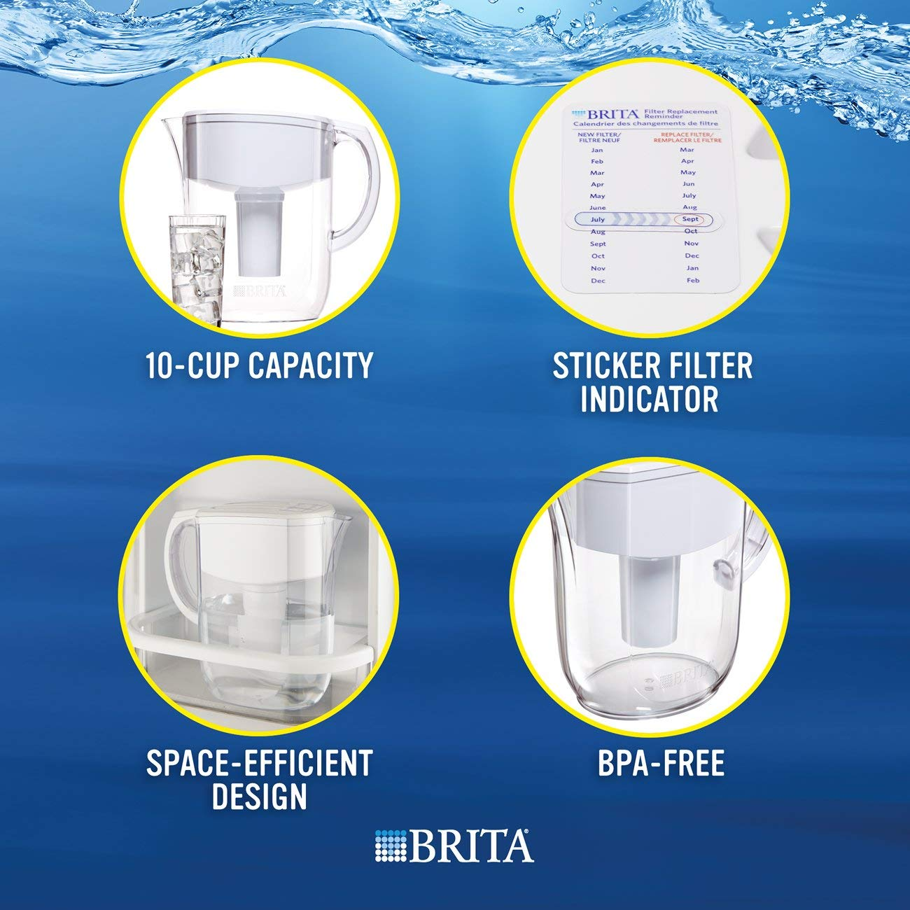 Brita Large 10 Cup Everyday Water Pitcher with Filter - BPA Free - White by Brita (Image #4)