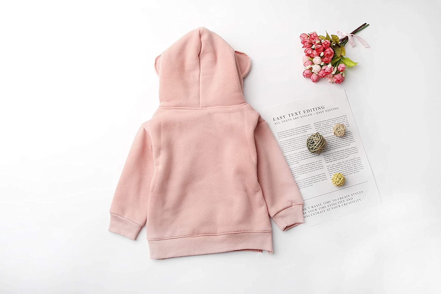 Toddler Girl Cute Hoodie,Bear Ears Hat with Strawstring Split Hem Pullover for Toddler Girl Fall Outfits 1-5T