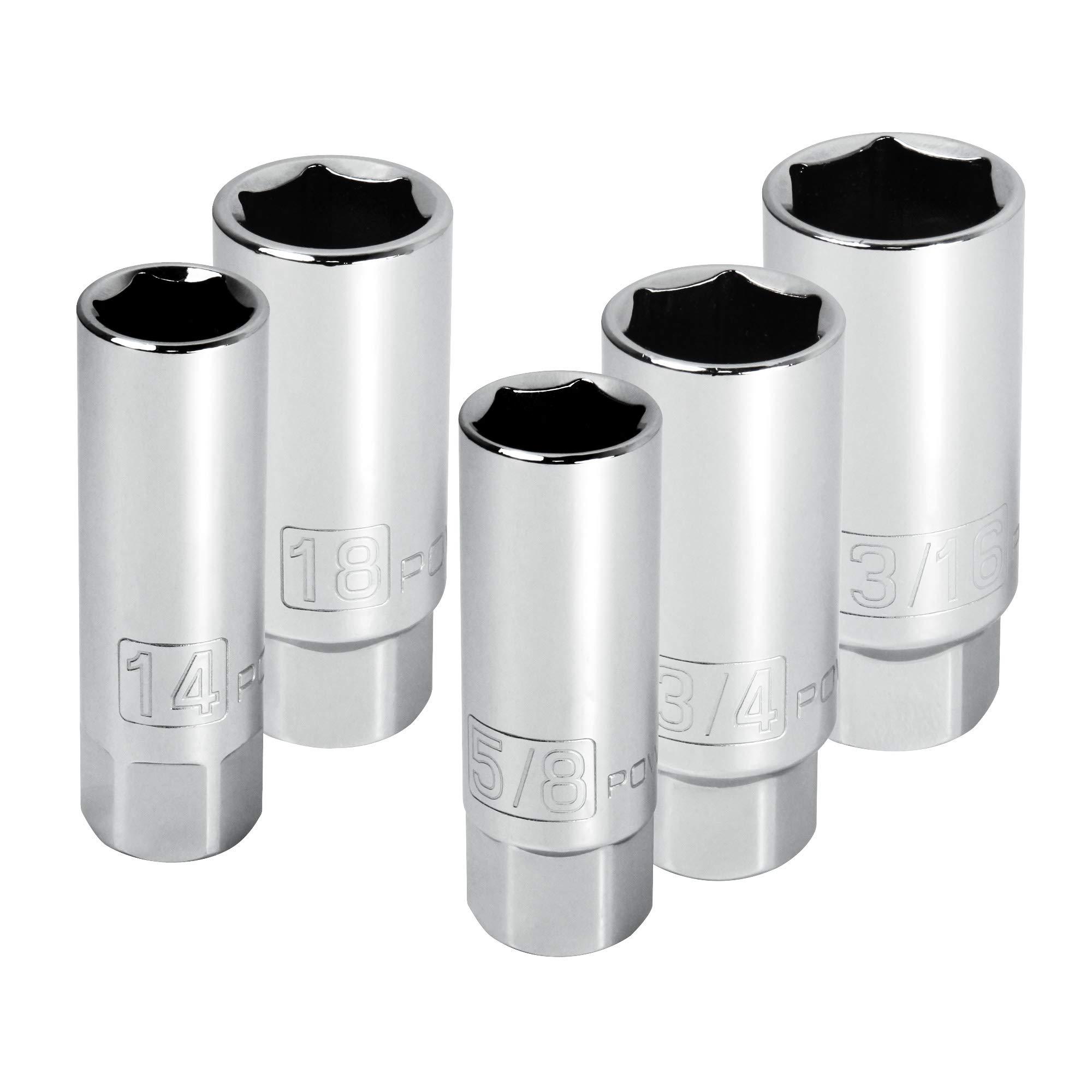 Powerbuilt 640855 3/8-Inch Drive Spark Plug Socket Set, 5-Piece , Grey