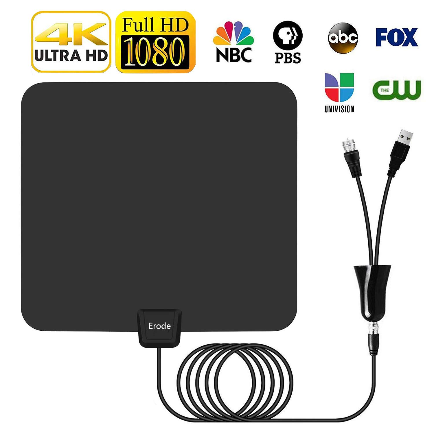 HDTV Antenna, Indoor Digital TV Antenna 65-90Miles Range with Newset Amplifier Signal Booster - 4K Local Channels Broadcast for All Types of Smart Television - Updated 2018 Version