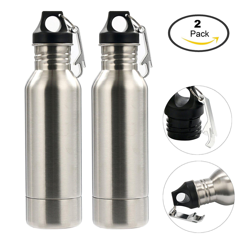 Botellero de acero inoxidable para bebidas frías (2 unidades), abridor de botellas incluido para viajes, al aire libre, fiesta, playa, carnaval: Amazon.es: ...