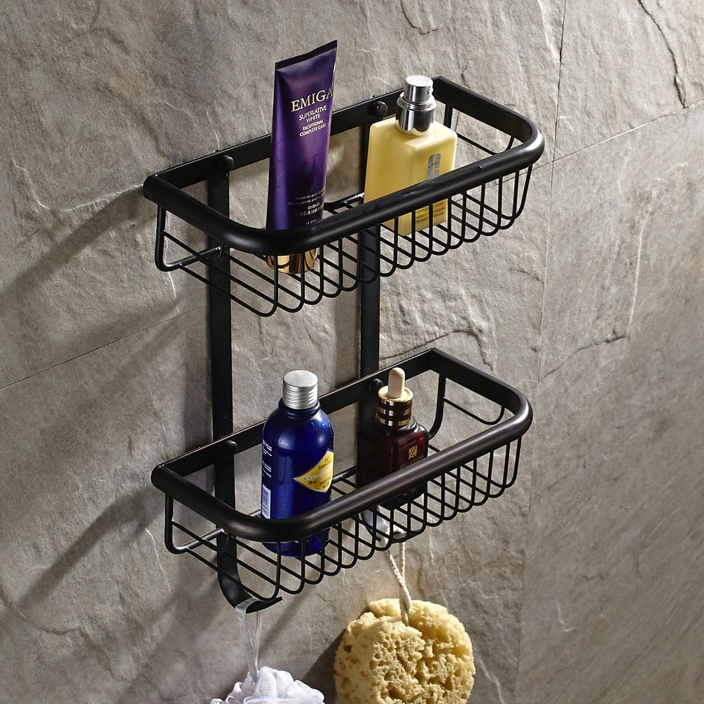 GUMA Wall Mount 2 Tiers Dual Rectangle Wire Baskets Bathroom Shower Caddies Cosmetic Storage Holder Shelf (oil rubbed bronze Finish)