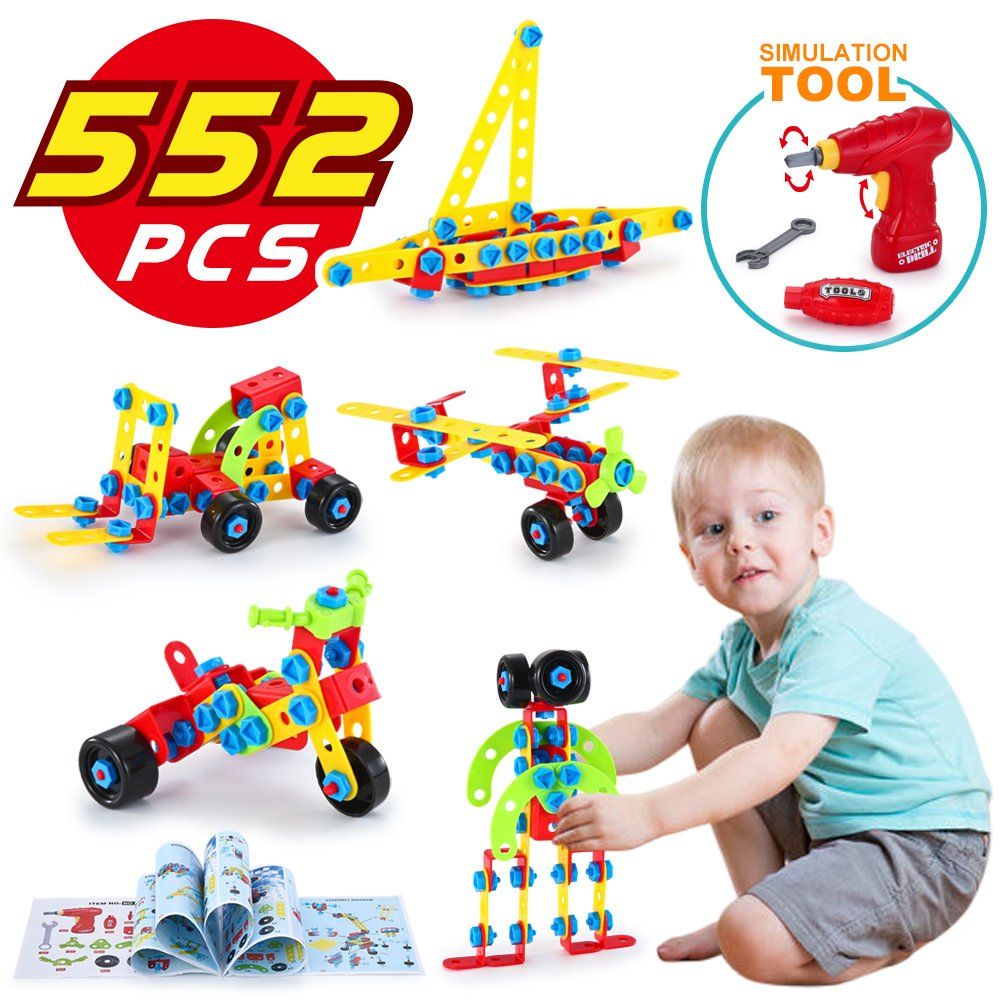 LUKAT STEM Toys, Building Blocks for Kids, Learning Construction Educational Toys for 4,5,6 Year and Older Boys and Girls, 552 Pieces Gifts
