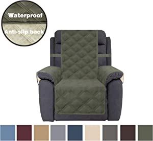CHHKON Sofa Cover Waterproof with Anti-Skip Dog Paw Print 100% Quilted Furniture Protector Sofa Slipcover for Children, Pets for Leather Couch (Green, Recliner)