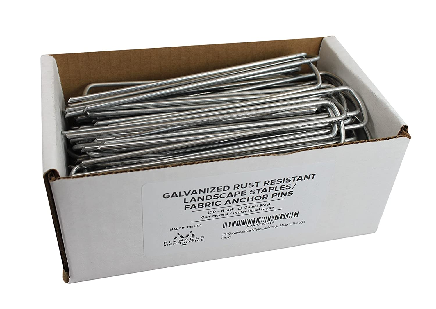 100 Galvanized Garden Landscape Staples Fabric Anchor Pins Anti Rust 6 inch 11 gauge Steel Made In USA By Pinnacle Mercantile