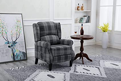 Westwood Vintage Armchair Sofa Recliner Lounge Fabric Tub Chair Seat Bedroom Home Occasional Furniture Fa01 Grey Check