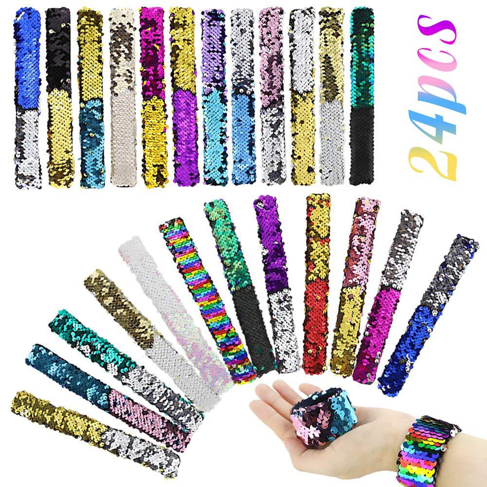 HEHALI 24 Pcs Mermaid Slap Bracelet Two-Color Reversible Charm Bracelets Magic Sequins Flip Wristband Bracelets for Birthday Party Favors