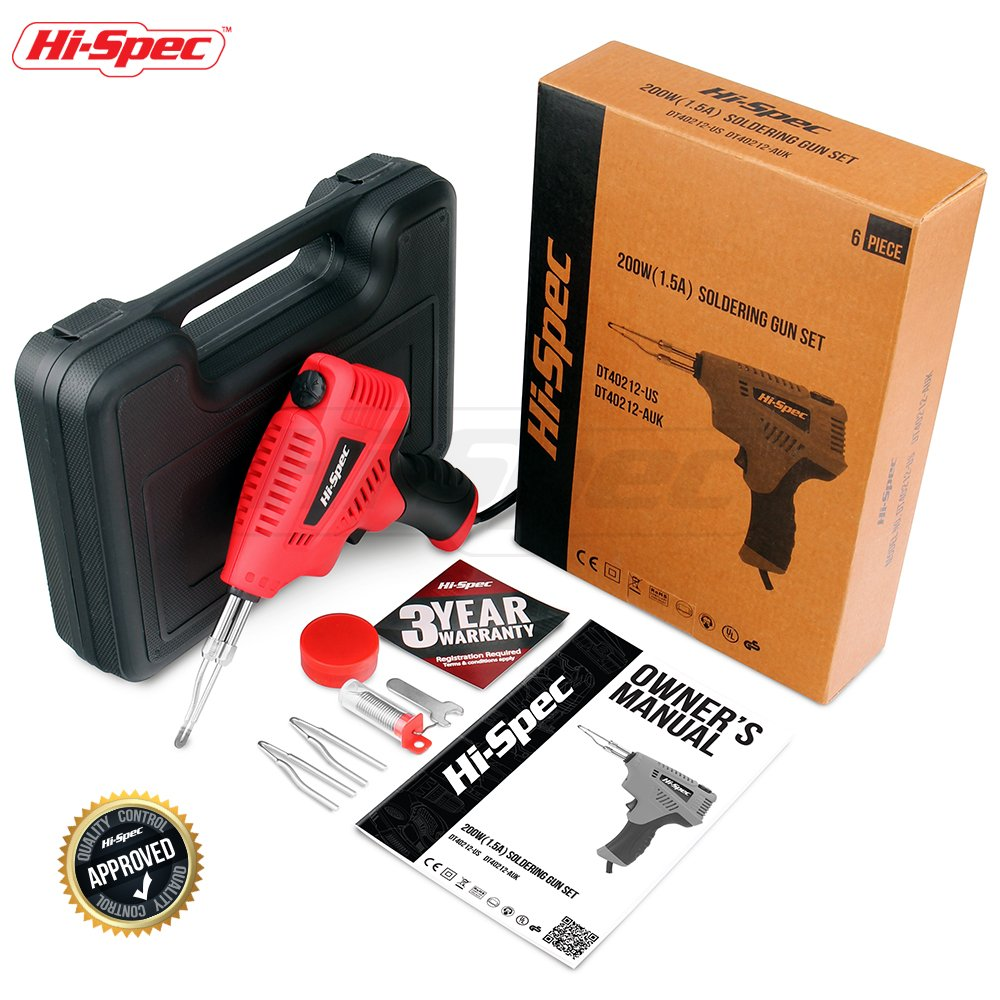 Hi-Spec 3-in-1 Heavy Duty 1.5A Soldering Gun, Hot Knife & Wood Burner with 3 Temperatures for Soldering Electronics, Cutting Materials, Wood Engraving, Plumbing, Metalwork & Crafts Soldering Gun Kit by Hi-Spec (Image #1)