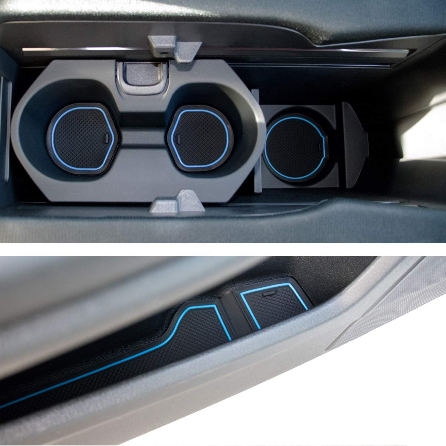 Custom Fit Cup, Door and Center Console Liner Accessories for Honda Civic 2019 2018 2017 2016 14-pc Set (Front Seat, Blue Trim)