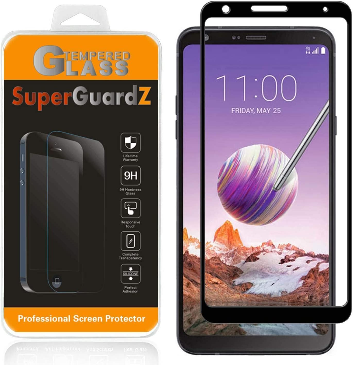 [2-Pack] LG Stylo 4 Screen Protector Tempered Glass [Full Coverage], SuperGuardZ, Edge-to-Edge, Anti-Scratch, Anti-Bubble [Lifetime Replacement]