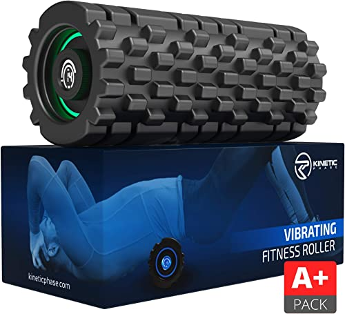 Kinetic Phase 8-Speed Vibrating Foam Roller Active Pack – High Intensity Vibration for Sports Recovery, Fitness, Deep Tissue Trigger Point Massage Therapy – High-Density Vibranting Back Massager
