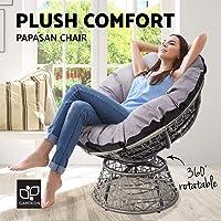 Gardeon Swivel Papasan Chair Indoor Outdoor Furniture Lounge-Grey
