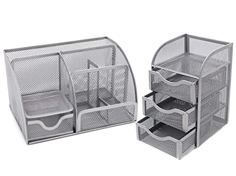 Wondrous Easypag Mesh Desk Organizer 6 Component Accessories Cady 3 Drawer Mini Hutch Silver Home Remodeling Inspirations Cosmcuboardxyz