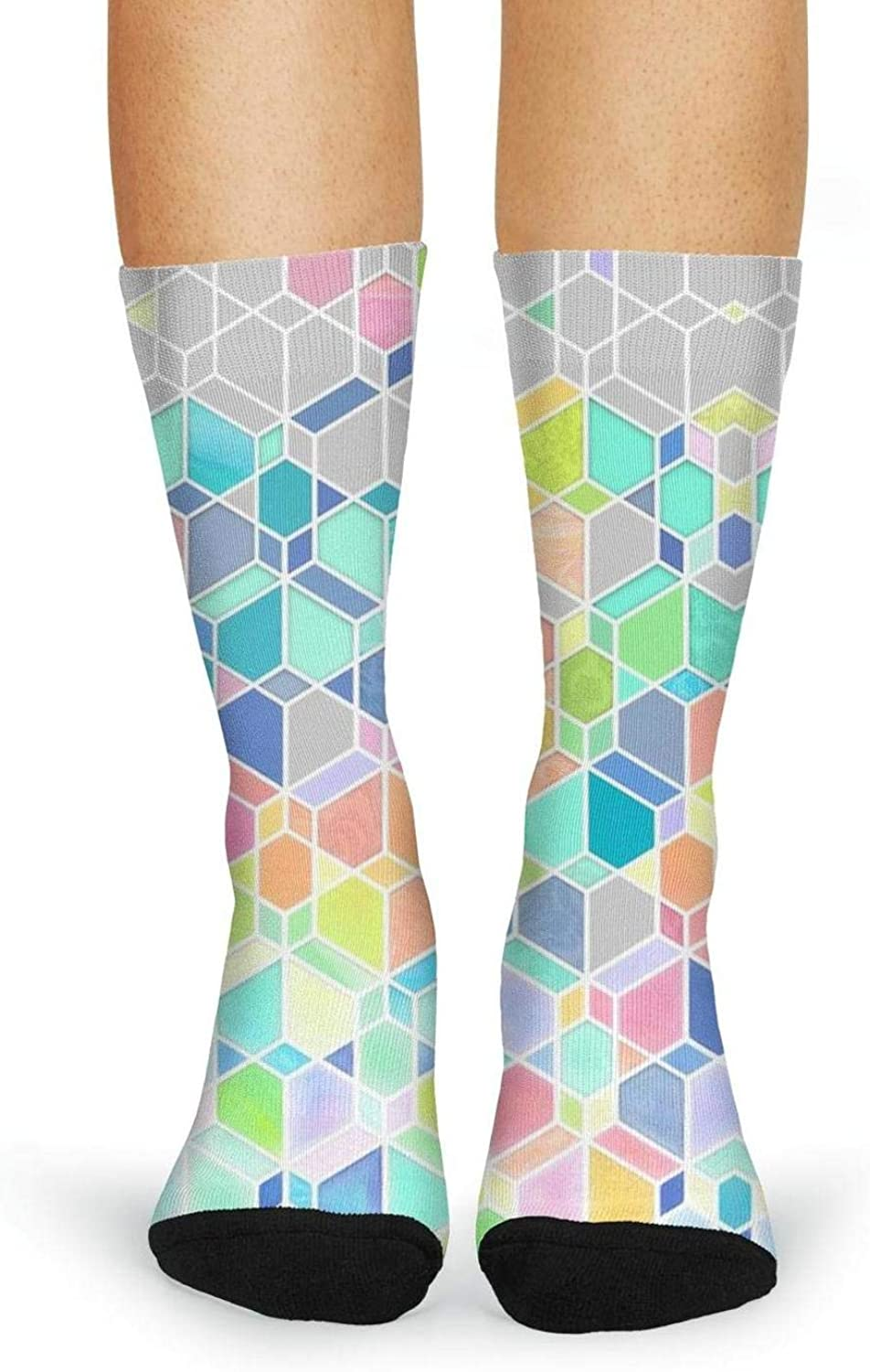 XIdan-die Womens Over-the-Calf Tube Socks Rainbow Cubes And Diamonds Moisture Wicking Casual Socks