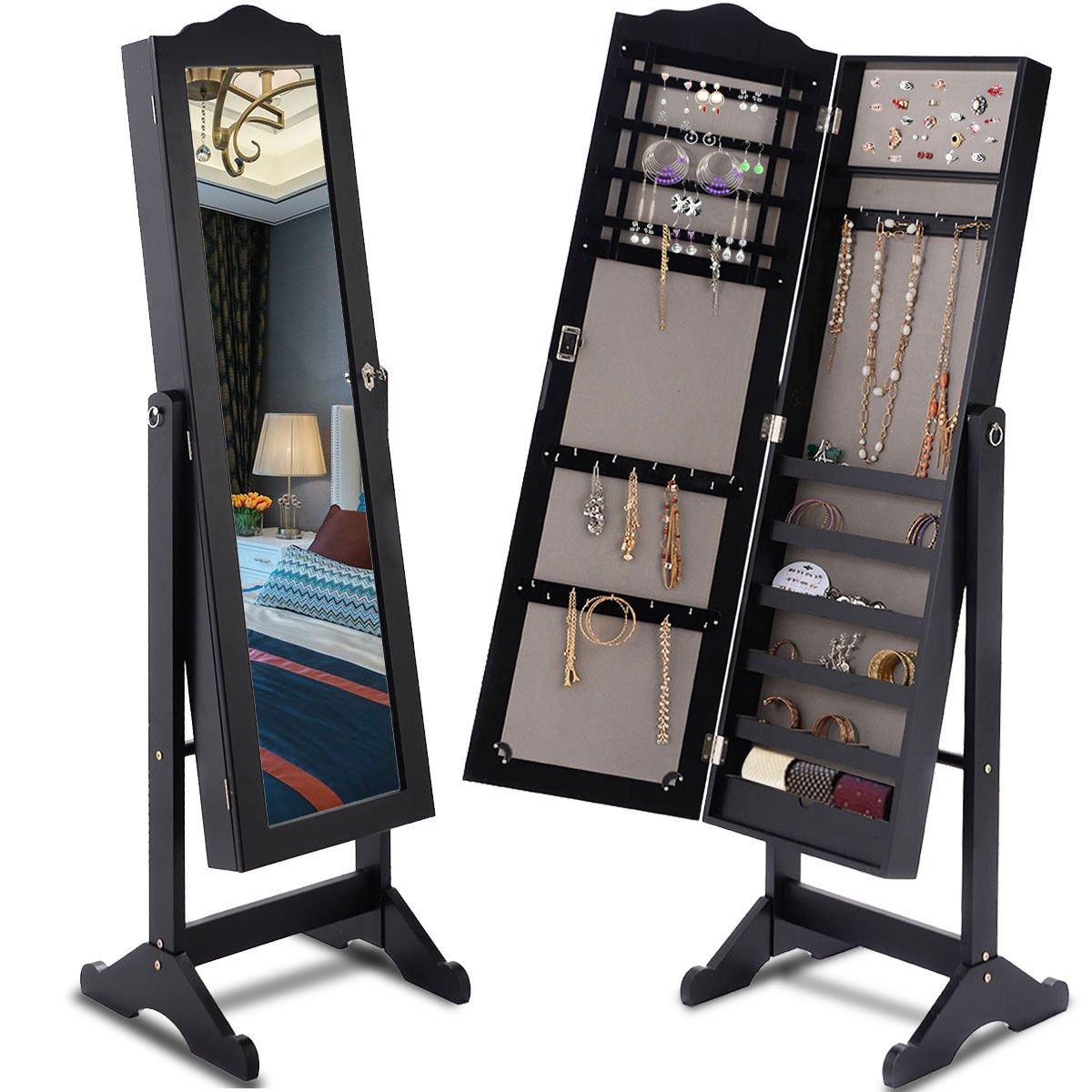 Giantex Lockable Mirrored Jewelry Cabinet Armoire Mirror Organizer Storage Box w/Stand (Black)