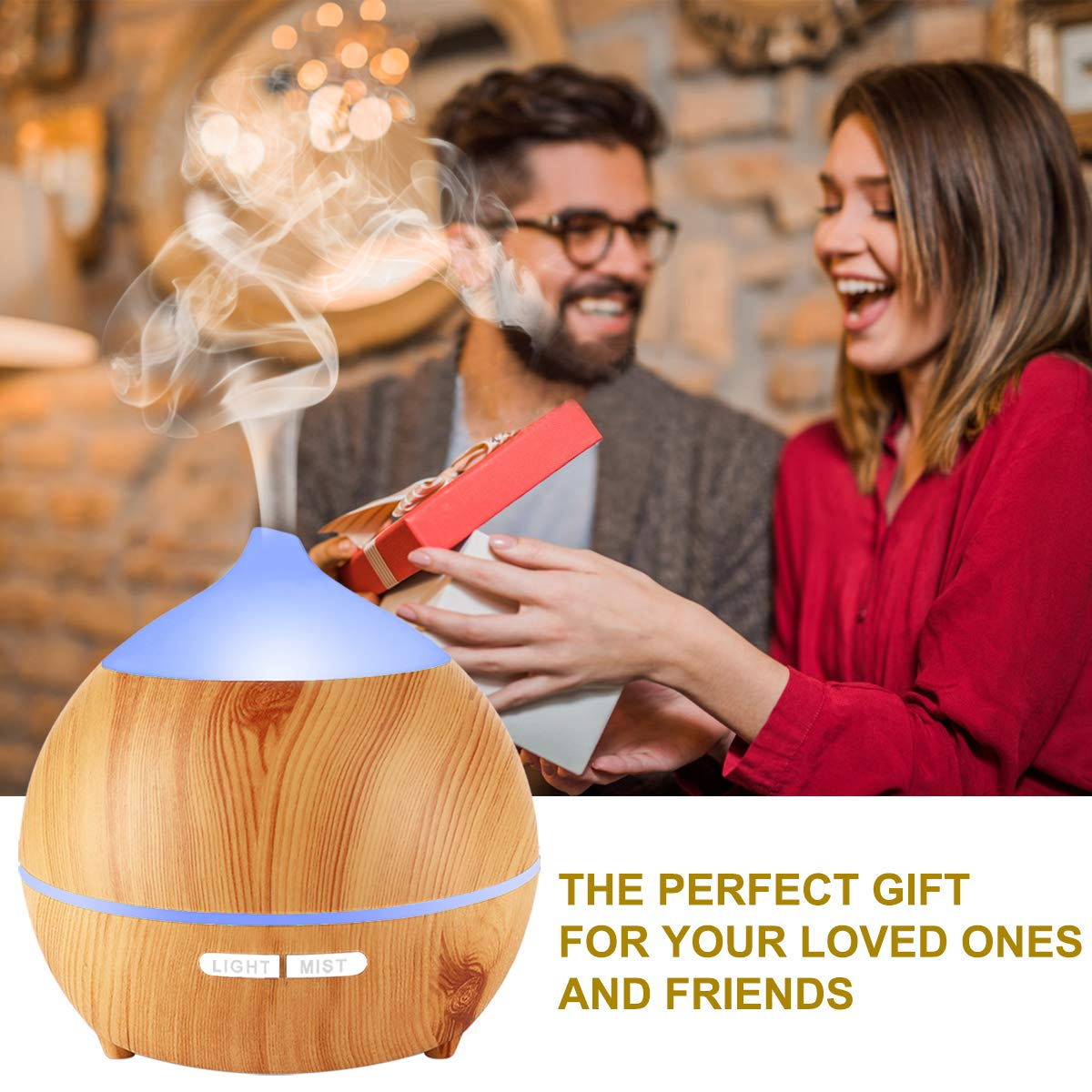 Essential Oil Diffuser XFelectronics 2 pack 250ml Diffusers for Essential Oils Wood Grain Aromatherapy Diffuser Ultrasonic Humidifier with Waterless Auto Shut off, 7 Colors Light for Home Office Baby by Xfelec (Image #7)