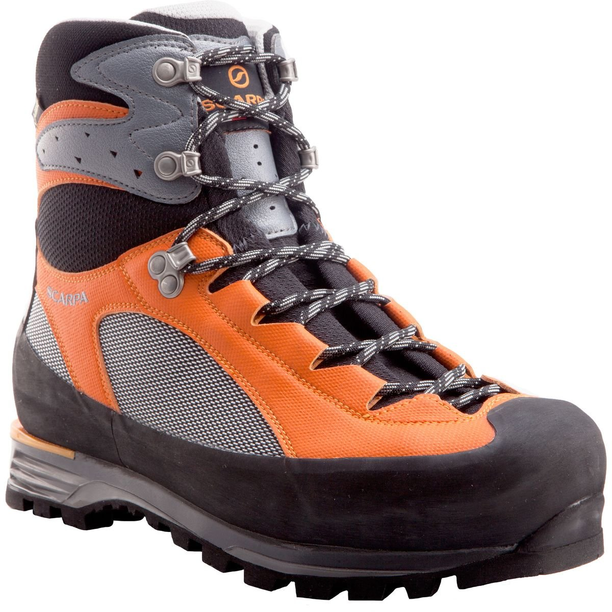 SCARPA Men's CHARMOZ Mountaineering Boot, Shark/Orange, 40.5 EU/7.666666666666667 M US by SCARPA