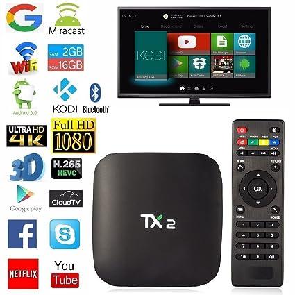 TX2 2GB Ram 16GB Rom Android 6 0 TV Box WiFi Bluetooth 4K Full HD Smart TV  Box RK3229
